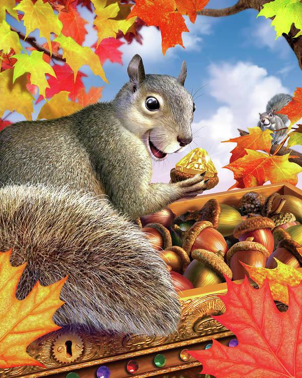 Squirrel Poster featuring the digital art Squirrel Treasure by Jerry LoFaro