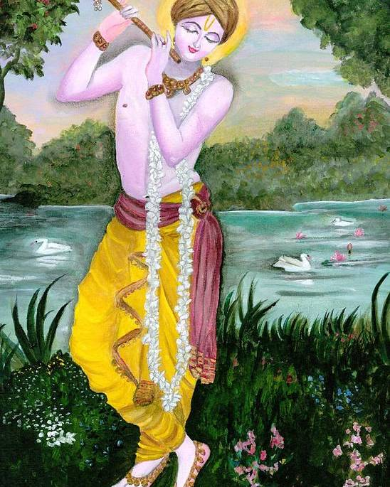 Krishna Poster featuring the painting The Divine Flute Player, Sri Krishna by Tara Krishna