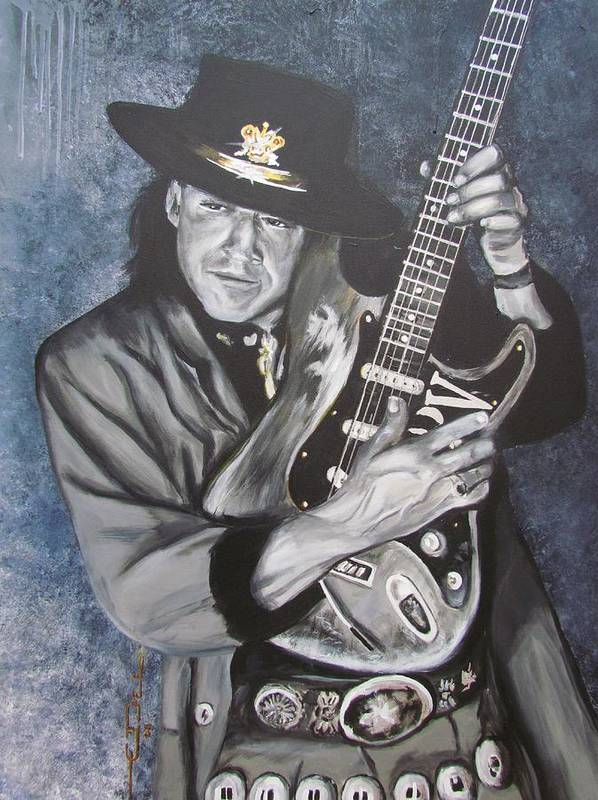 Stevie Ray Vaughan Poster featuring the painting Srv - Stevie Ray Vaughan by Eric Dee