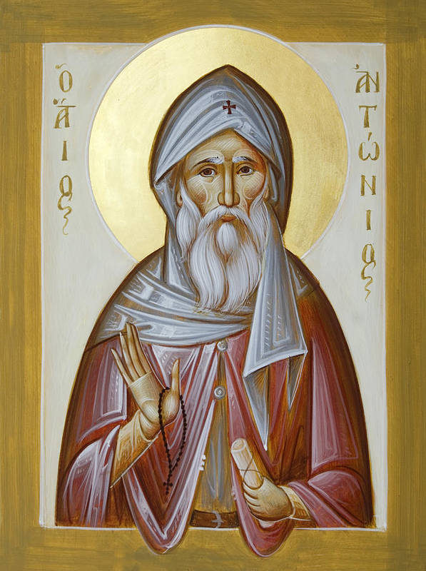 St Anthony The Great Poster featuring the painting St Anthony The Great by Julia Bridget Hayes