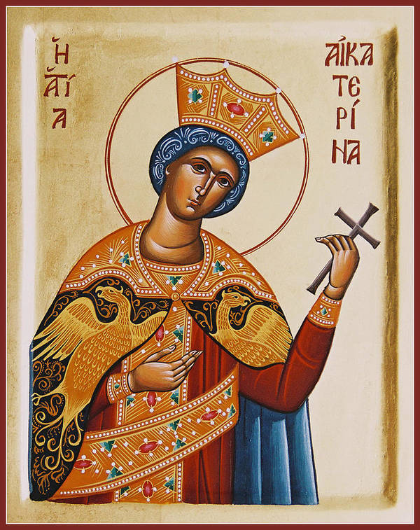Icon Poster featuring the painting St Catherine by Julia Bridget Hayes