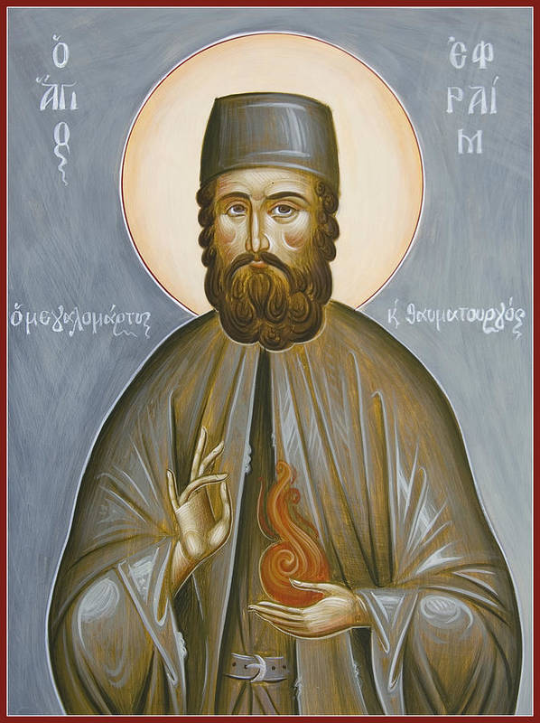 St Efraim Of Nea Makri Poster featuring the painting St Efraim Of Nea Makri by Julia Bridget Hayes