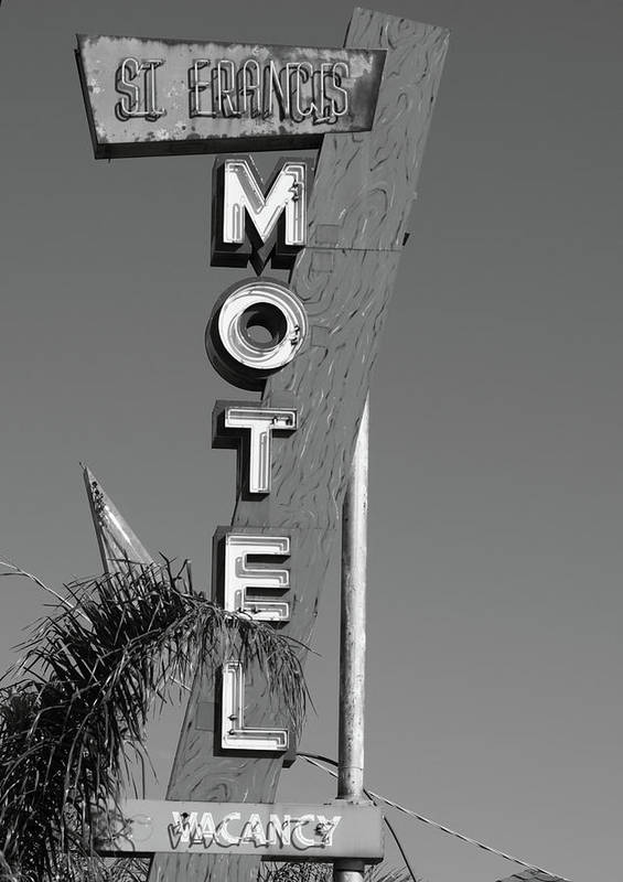 Antique Poster featuring the photograph St Francis Motel Stockton Ca by Troy Montemayor
