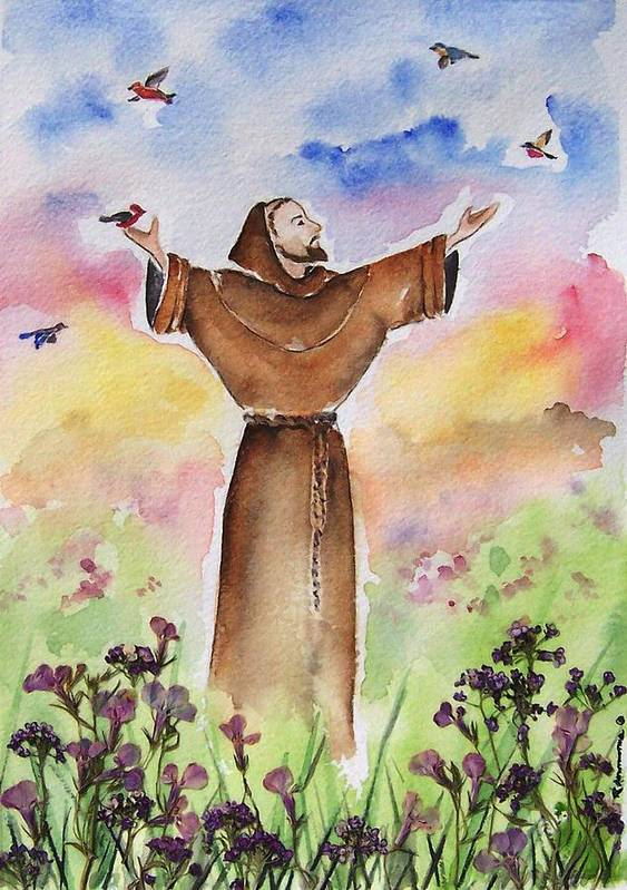 Catholic Poster featuring the painting St Francis Of Assisi by Regina Ammerman