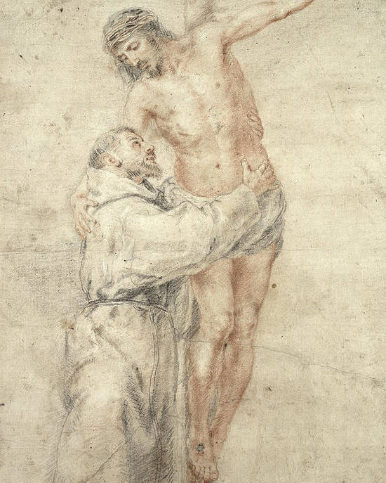 Francis Poster featuring the painting St Francis Rejecting The World And Embracing Christ by Bartolome Esteban Murillo