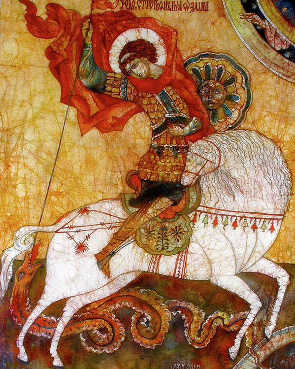 Contemporary Art Poster featuring the painting St George I by Tanya Ilyakhova