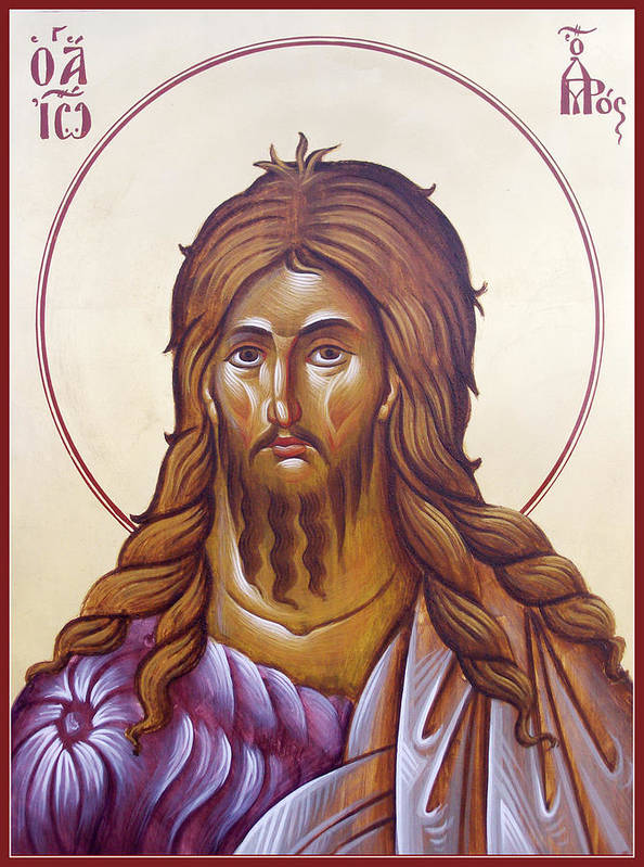 Icon Poster featuring the painting St John The Forerunner And Baptist by Julia Bridget Hayes
