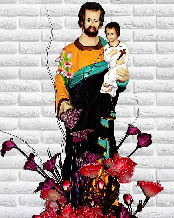 Saint Poster featuring the photograph St Joseph Holding Baby Jesus - Catholic Church Qibao China by Christine Till
