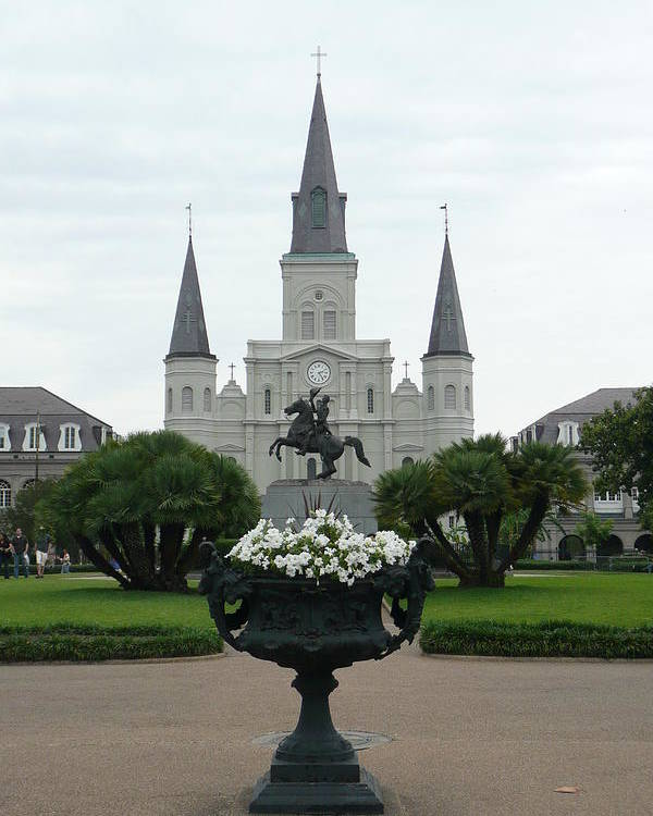 New Orleans Poster featuring the photograph St. Louis Cathedral New Orleans by Kathy Schumann