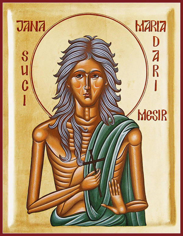 Icon Poster featuring the painting St Mary Of Egypt by Julia Bridget Hayes
