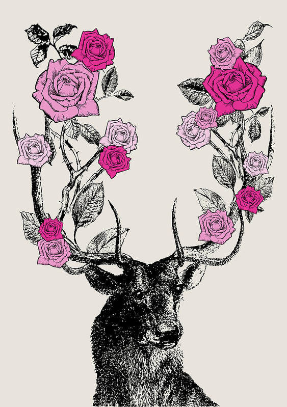 Stag And Roses Poster featuring the digital art Stag And Roses by Eclectic at HeART