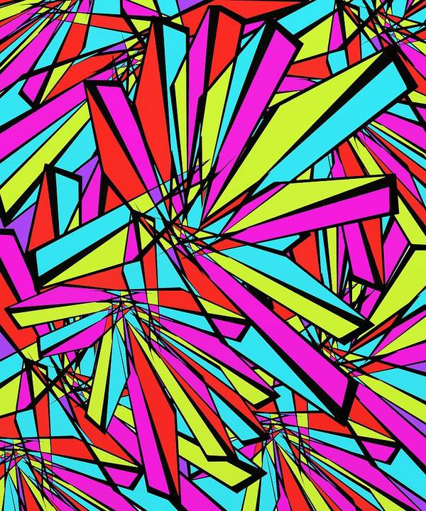 Abstract Poster featuring the digital art Stained Glass by David Michael Schmidt