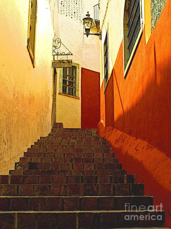 Darian Day Poster featuring the photograph Stairway Guanajuato by Mexicolors Art Photography