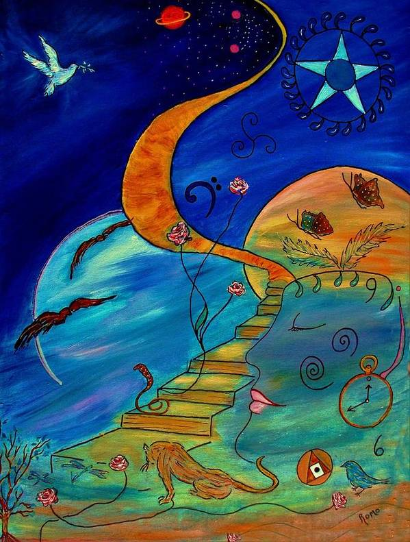Symbolic Poster featuring the painting Stairway To Nirvana by Robin Monroe