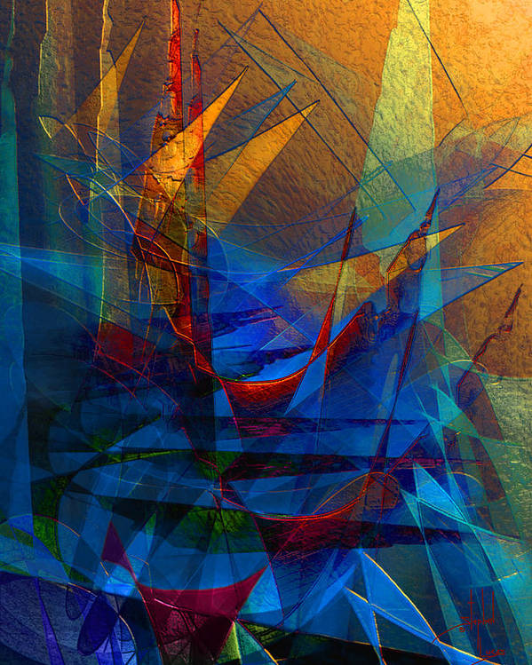 Abstract Poster featuring the digital art Stairway Upon Grail Passeges by Stephen Lucas