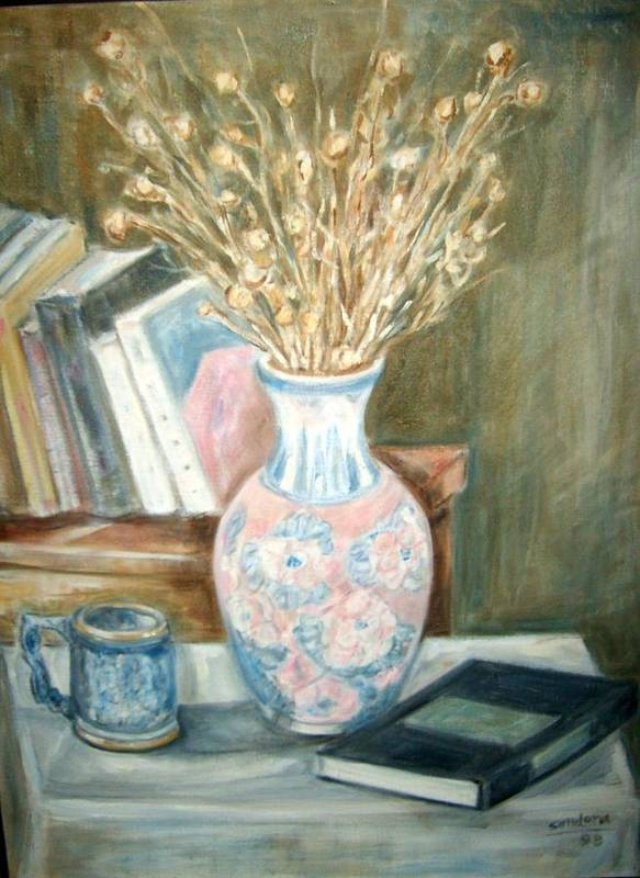 Still Life With Books Vase Dry Plants Book Poster featuring the painting Stalks 2 by Joseph Sandora Jr