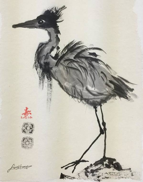 Heron Poster featuring the painting Standing Heron by Claire Bistline