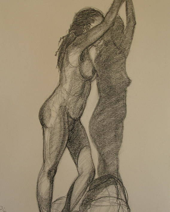 Realism Poster featuring the drawing Standing Nude 1 by Donelli DiMaria