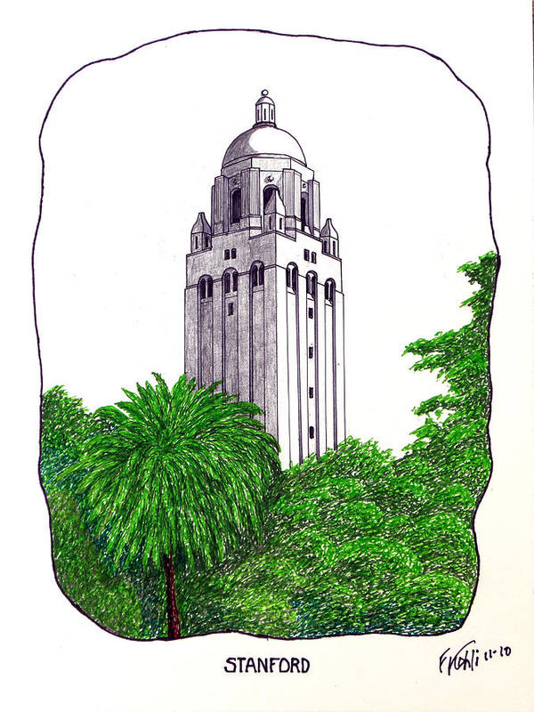 Pen And Ink Stanford University Campus Buildings Drawings Poster featuring the drawing Stanford by Frederic Kohli