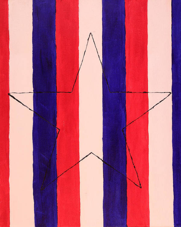 Star Poster featuring the painting Star And Stripes by David Stasiak
