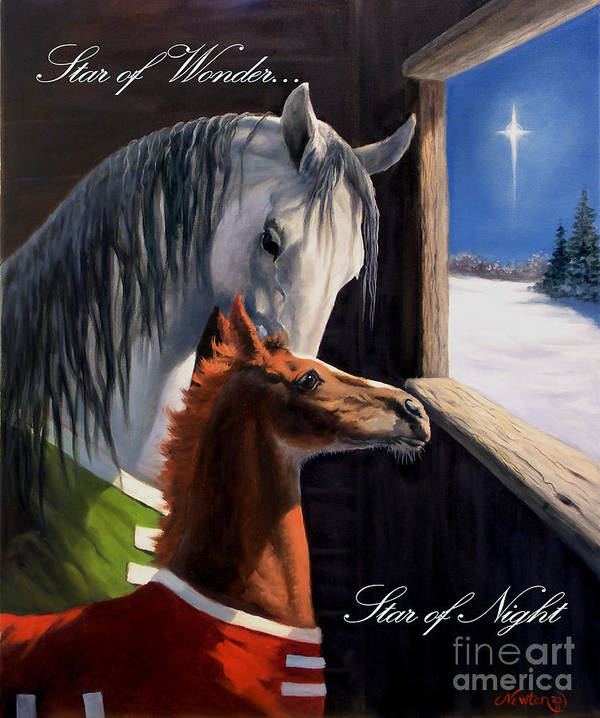 Equine Holiday Cards Poster featuring the painting Star Of Wonder by Jeanne Newton Schoborg