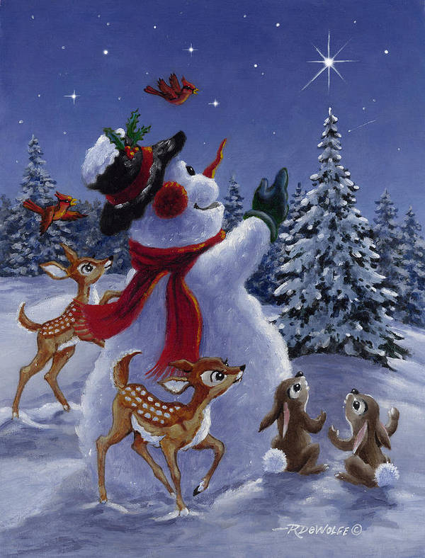 Snowman Poster featuring the painting Star Of Wonder by Richard De Wolfe