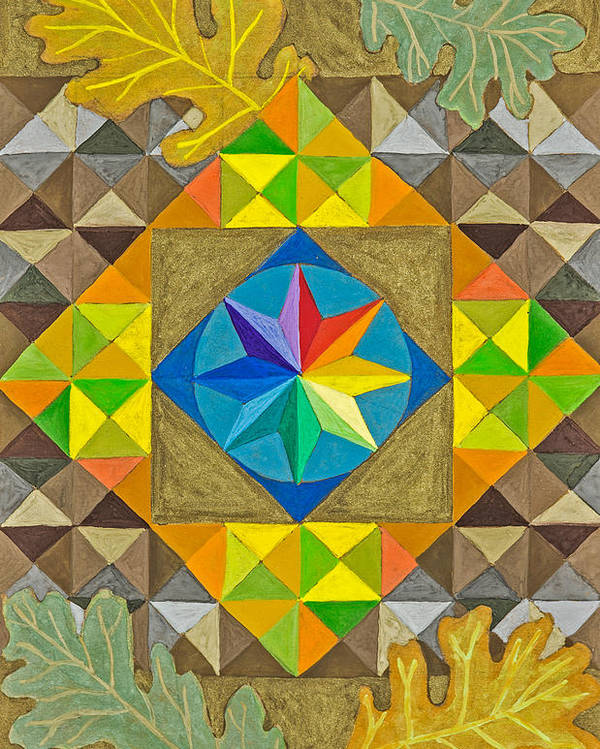 Abstract Rainbow Star Mandala Surrounded By Oak Leaves Poster featuring the painting Star Series Four by Sandy Thurlow