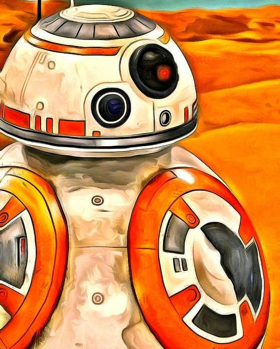 Star Wars 7 Poster featuring the digital art Star Wars Bb-8 - Da by Leonardo Digenio