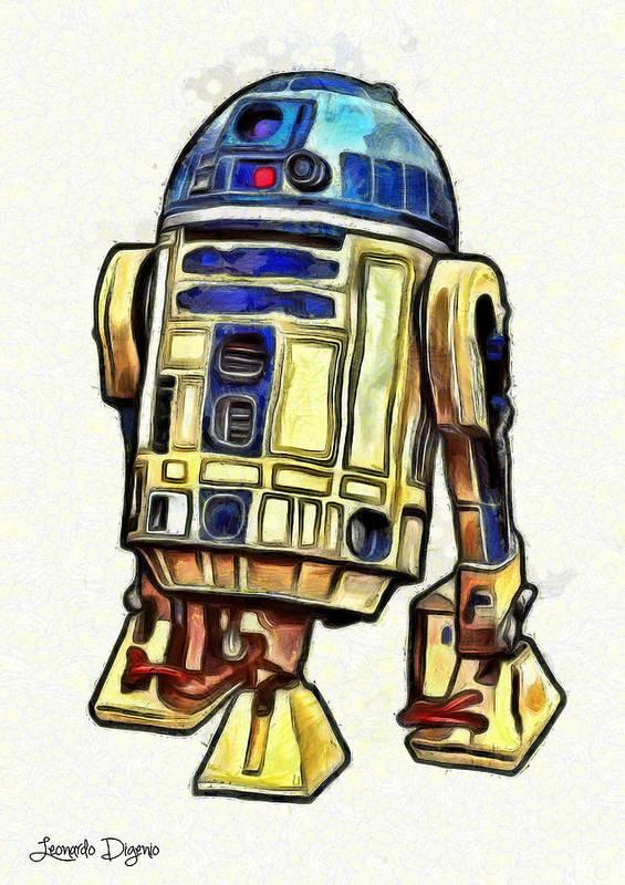 Star Wars 7 Poster featuring the digital art Star Wars R2d2 Droid - DA by Leonardo Digenio