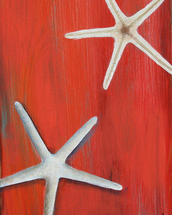 Starfish Art Poster featuring the painting Starfish On Red by Gabriela Valencia