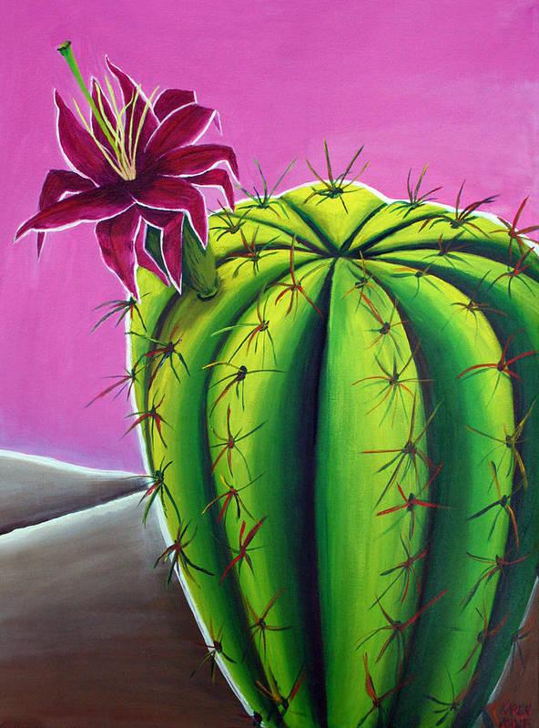 Cactus Poster featuring the painting Stargazer Cactus by Karen Aune