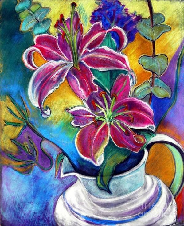 Still Life Poster featuring the pastel Stargazer Lilies by Jillian Goldberg