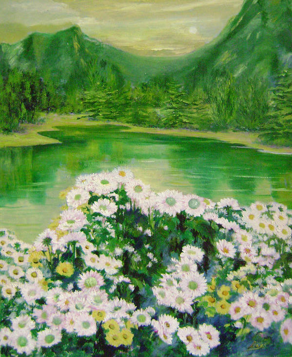 Floral Poster featuring the painting Stars By The River Side by Lian Zhen