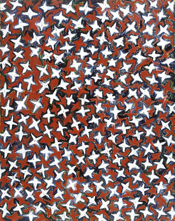 Abstract Stars White Red Pattern Poster featuring the painting Stars by Joan De Bot
