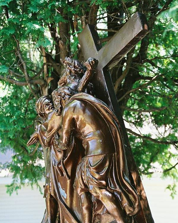 Religious Statue Poster featuring the photograph Station Of The Cross by Cheryl Martin