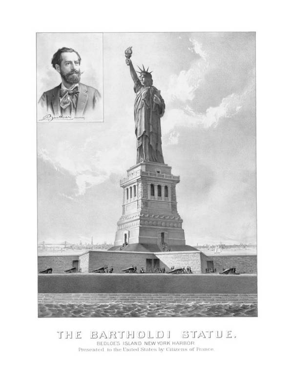 Architecture Poster featuring the drawing Statue Of Liberty And Bartholdi Portrait by War Is Hell Store