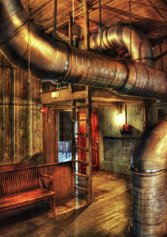 Vent Poster featuring the photograph Steampunk - Where The Pipes Go by Mike Savad