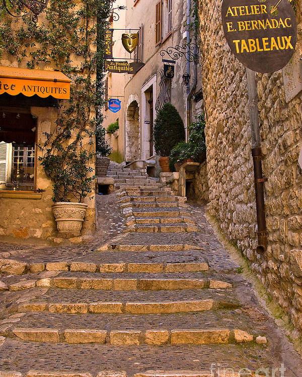 Travel Poster featuring the photograph Steep Street In St Paul De Vence by Louise Heusinkveld