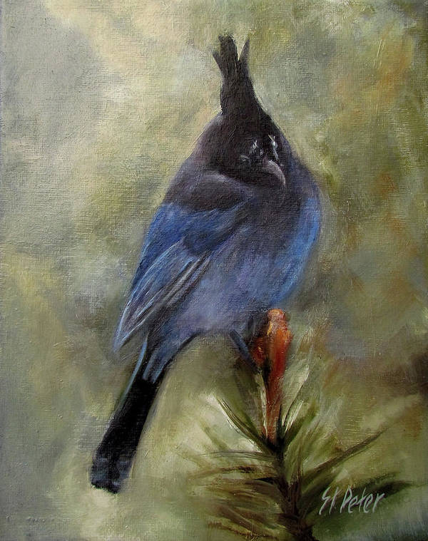 Mountain Poster featuring the painting Stellar Of A Bird by Mary St Peter