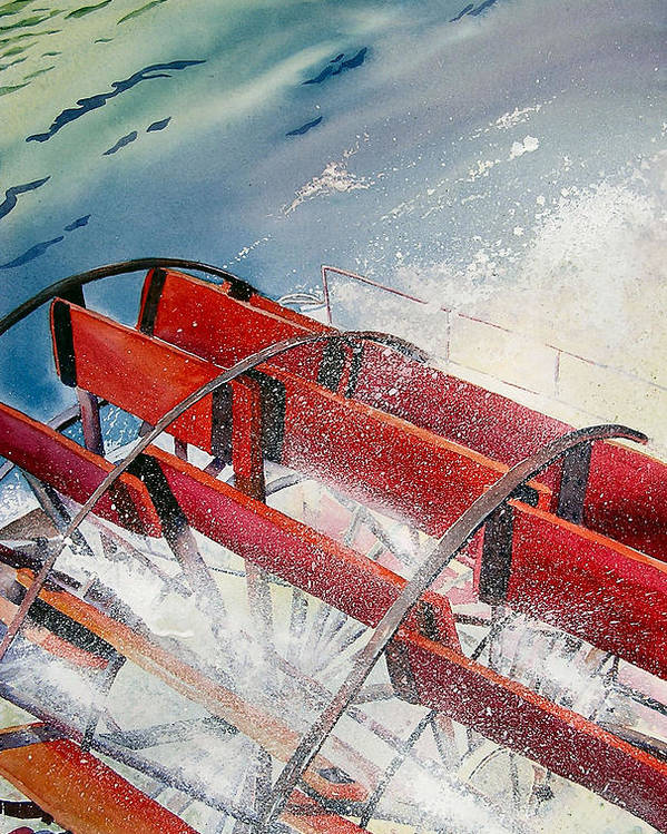 Paddlewheeler Poster featuring the painting Sternwheeler Splash by Karen Stark