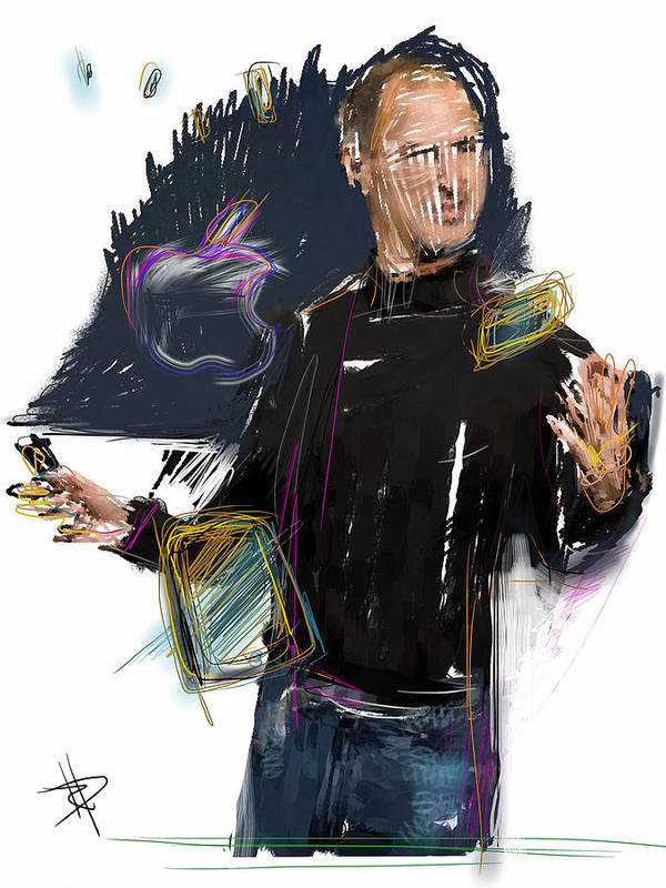 Steve Jobs Poster featuring the mixed media Steve Jobs by Russell Pierce