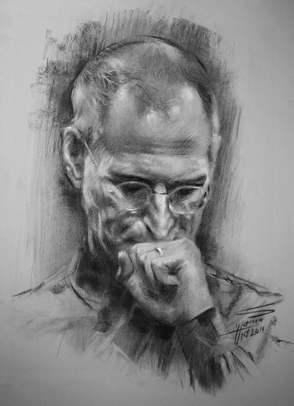 Steve Jobs Poster featuring the drawing Steve Jobs by Ylli Haruni