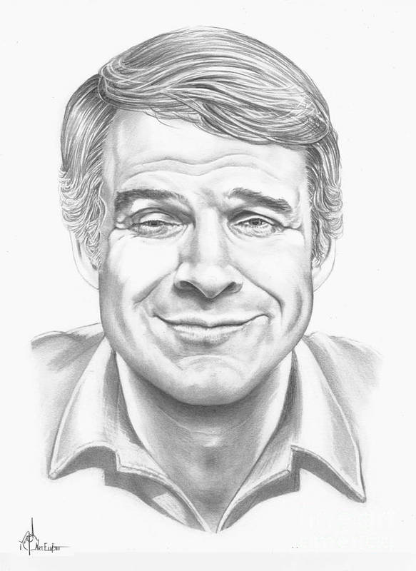 Pencil Poster featuring the drawing Steve Martin by Murphy Elliott