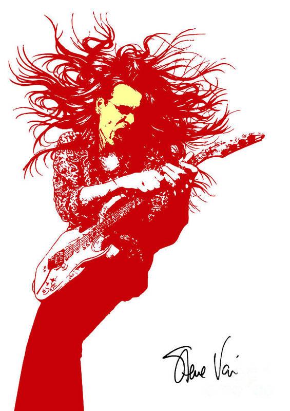 Steve Vai Poster featuring the digital art Steve Vai No.01 by Caio Caldas