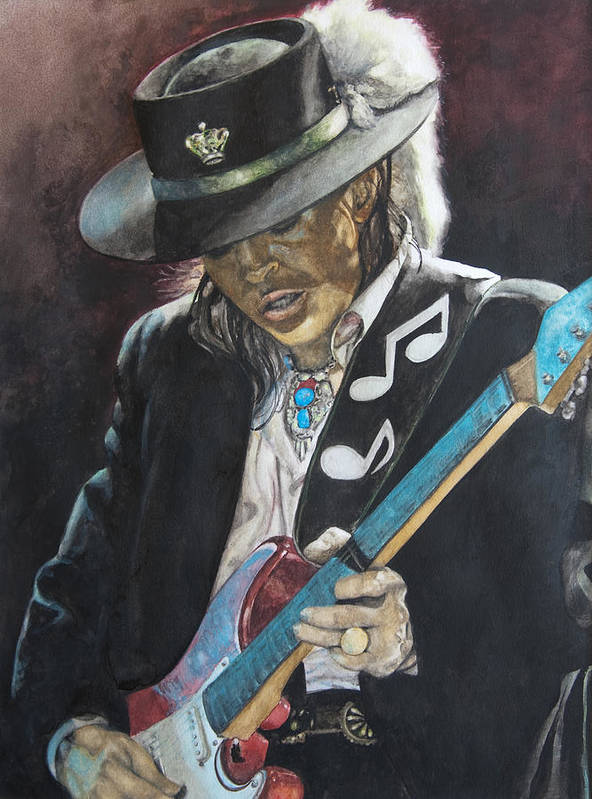 Stevie Ray Vaughan Poster featuring the painting Stevie Ray Vaughan by Lance Gebhardt