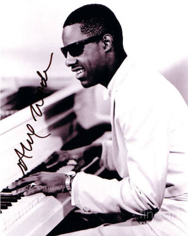 Stevie Wonder Autographed Poster featuring the photograph Stevie Wonder Autographed by Pd