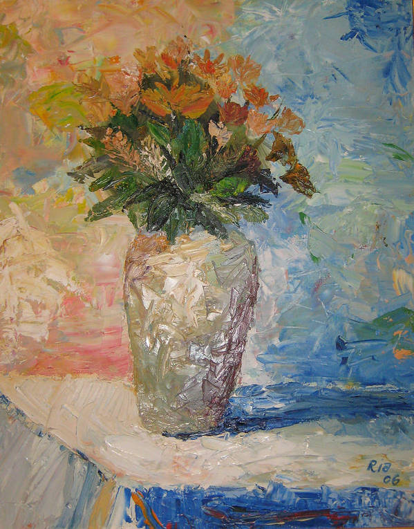 Still Life Vase Flowers Poster featuring the painting Still Life Flowers by Maria Kobalyan
