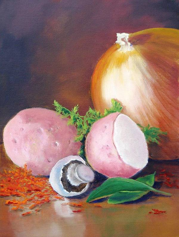 Vegetables Poster featuring the painting Still Life II by Dorothy Nalls