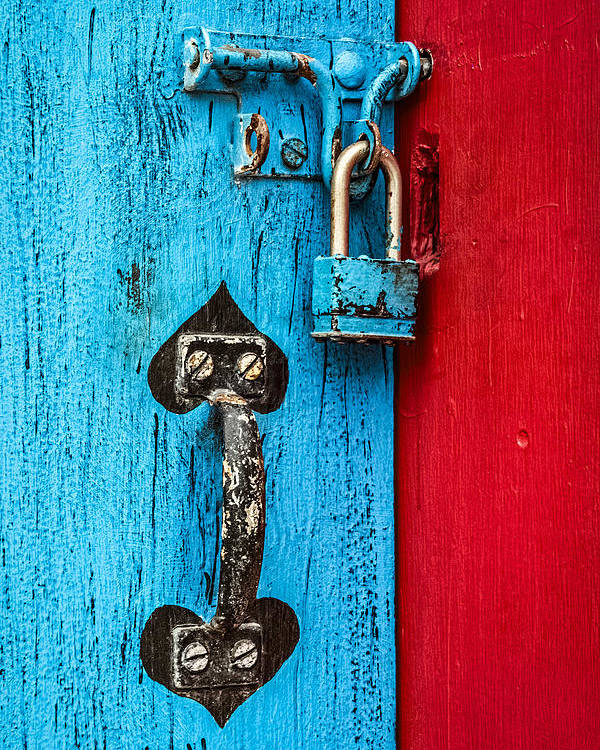 Door Poster featuring the photograph Still Life In Blue And Red by Jeff Clarke
