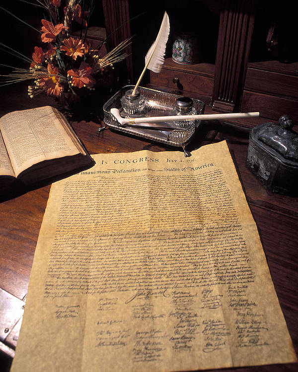 Still Life Poster featuring the photograph Still Life Of A Copy Of The Declaration by Richard Nowitz